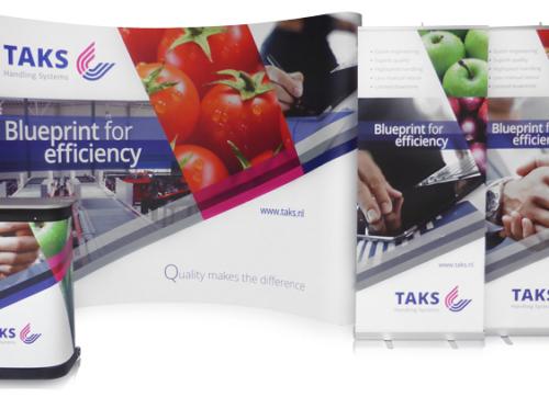 Presentatiewand Pop-up 4×3 Premium met 2x Roll-up Banner Economic voor TAKS